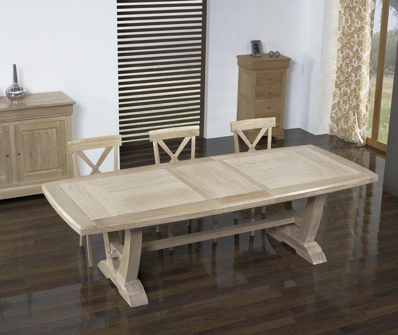 meuble en ch ne table rectangulaire monast re realis e en ch ne 220 110 2 allonges de 45 cm. Black Bedroom Furniture Sets. Home Design Ideas