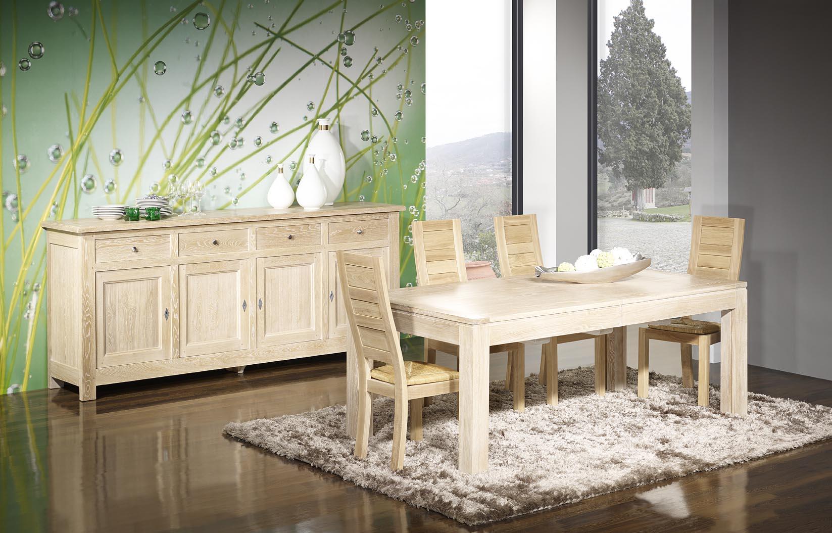 Meuble en chne table de repas rectangulaire 200x100 ralise for Miroir 200x100