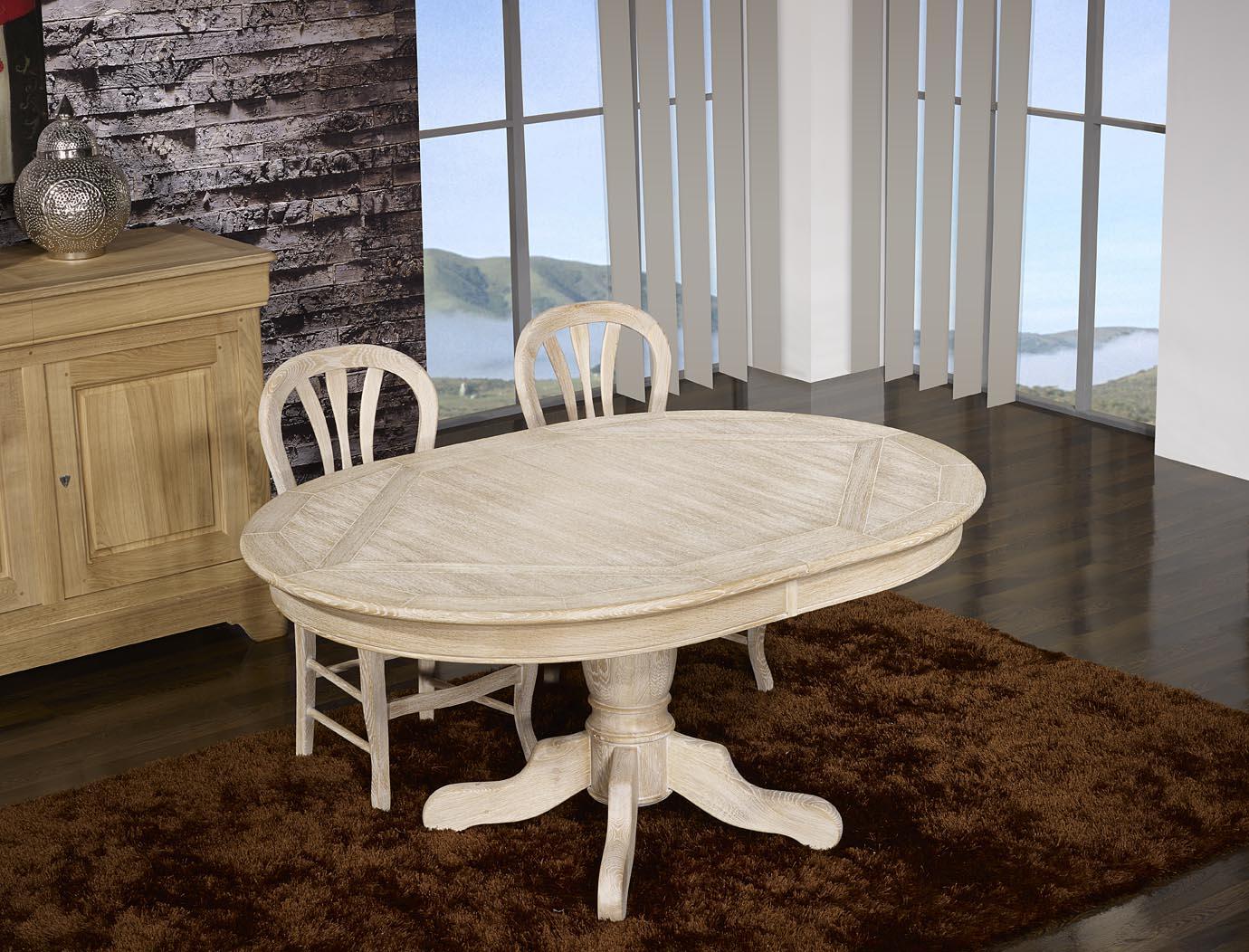 meuble en chne table ovale clment 160x120 pied central. Black Bedroom Furniture Sets. Home Design Ideas