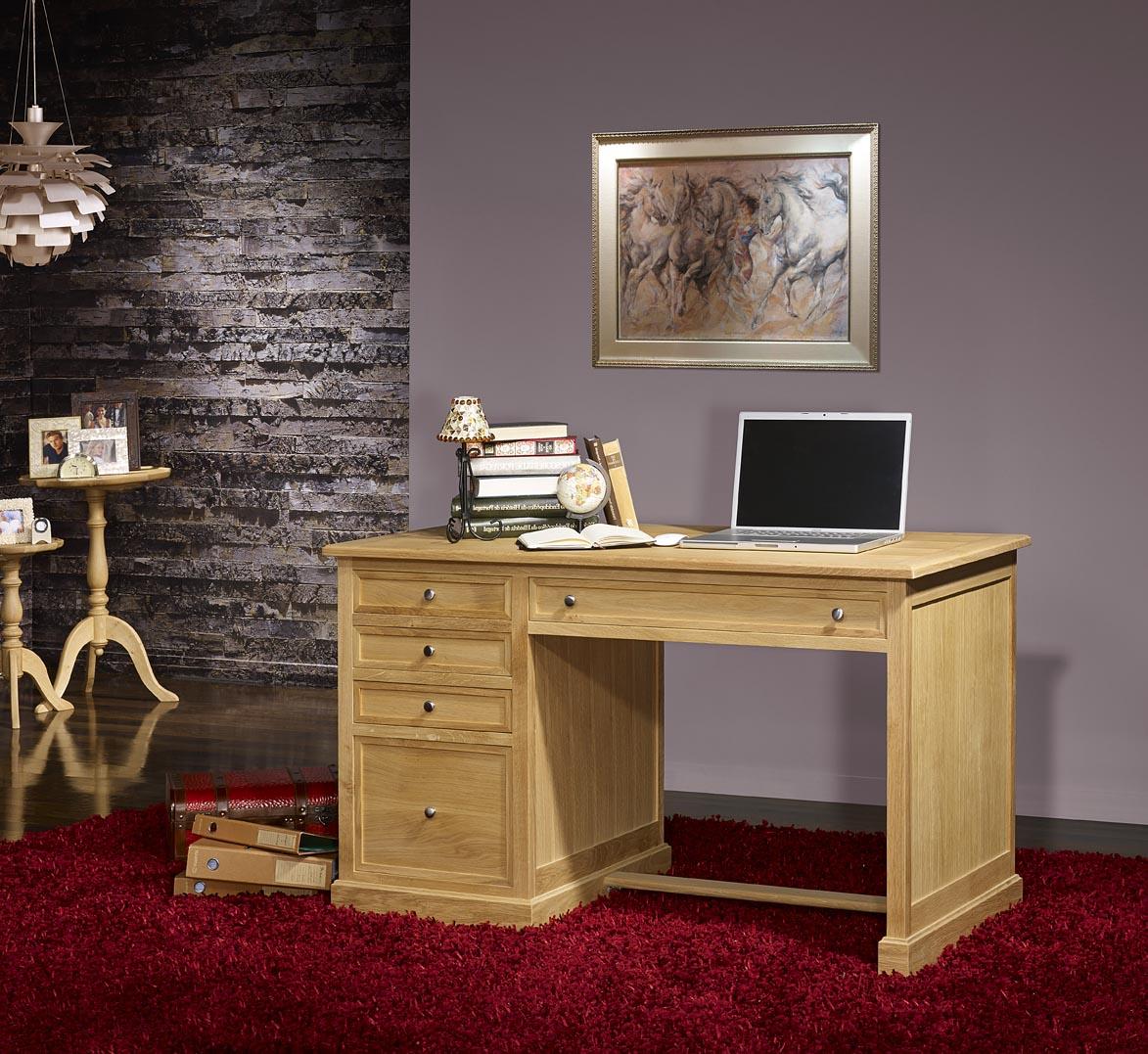 meuble en chne bureau 5 tiroirs victor ralis en chne de style louis philippe finition chne bross. Black Bedroom Furniture Sets. Home Design Ideas