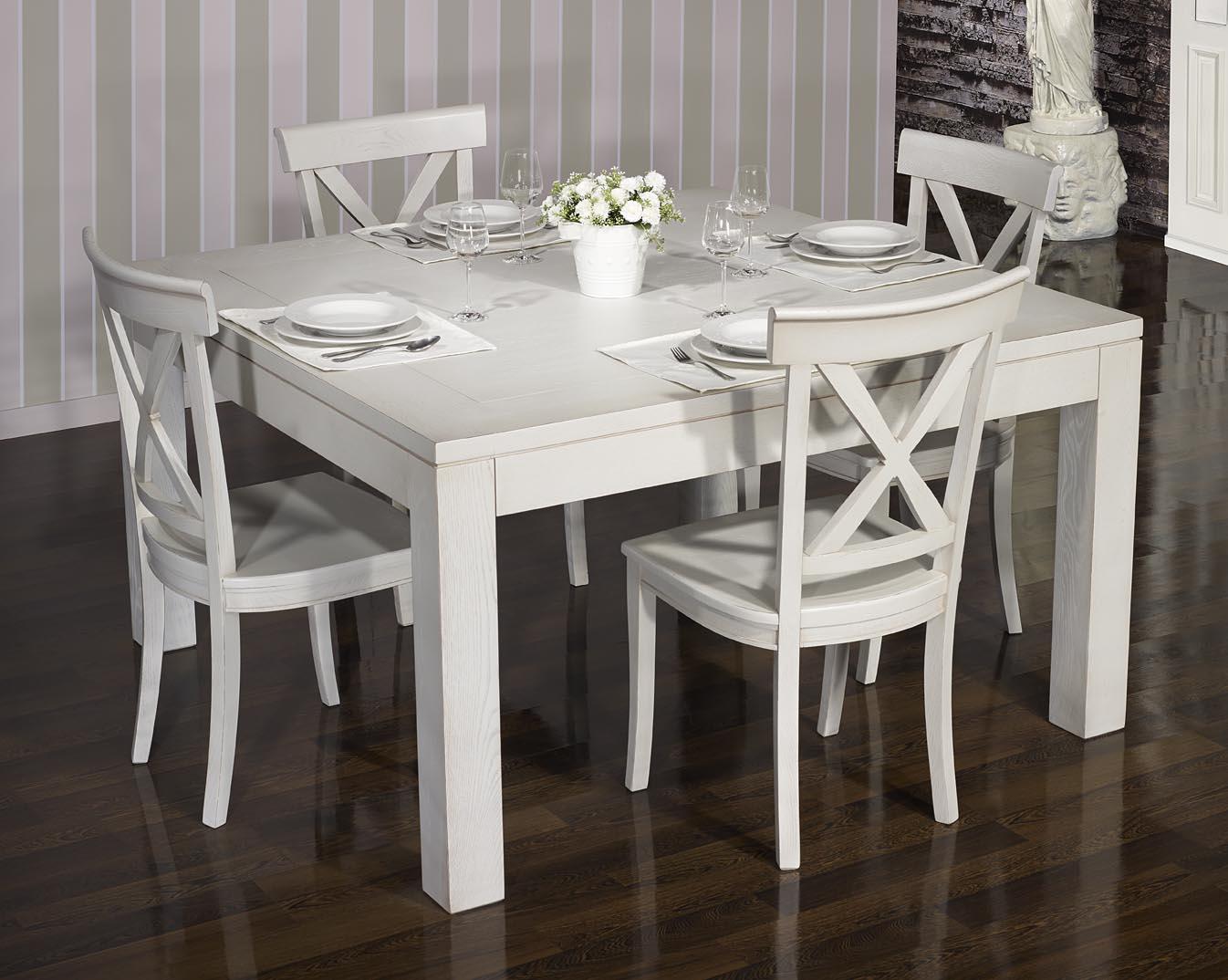 Meuble en chne table de salle manger 140 140 contemporaine for Table salle a manger chene massif contemporain