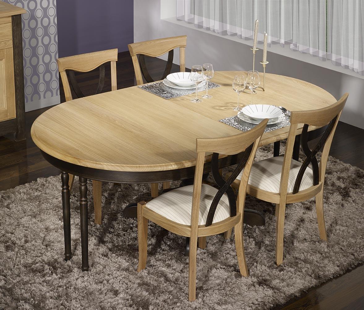 Meuble en chne table ronde pied central anna ralise en for Table ronde bois massif pied central