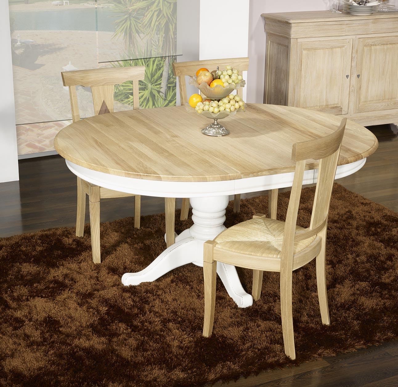 meuble en chne table ronde pied central ralise en chne massif de style louis philippe diametre. Black Bedroom Furniture Sets. Home Design Ideas