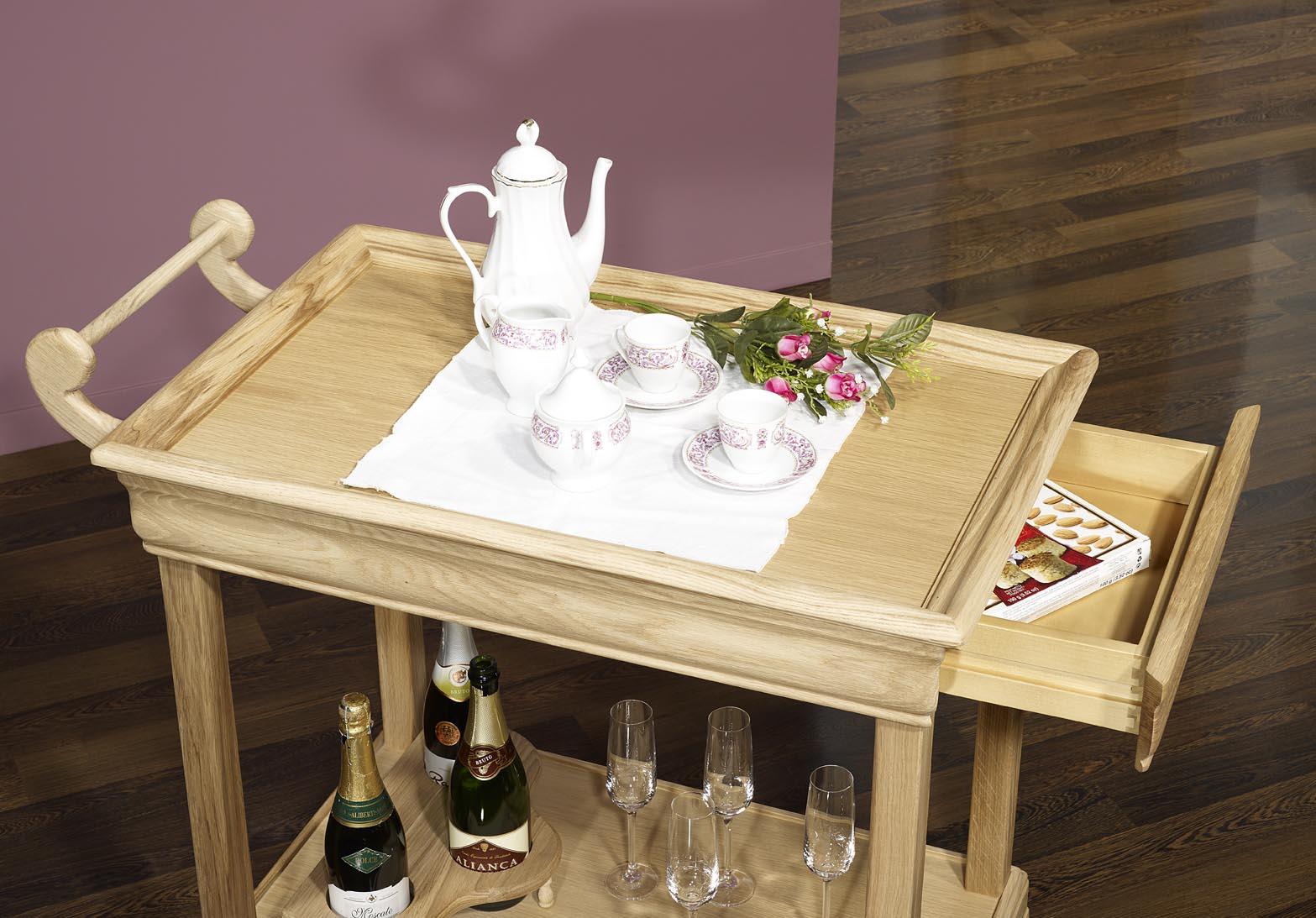 meuble en ch ne table desserte roulante en ch ne de style louis philippe avec 1 tiroir finition. Black Bedroom Furniture Sets. Home Design Ideas
