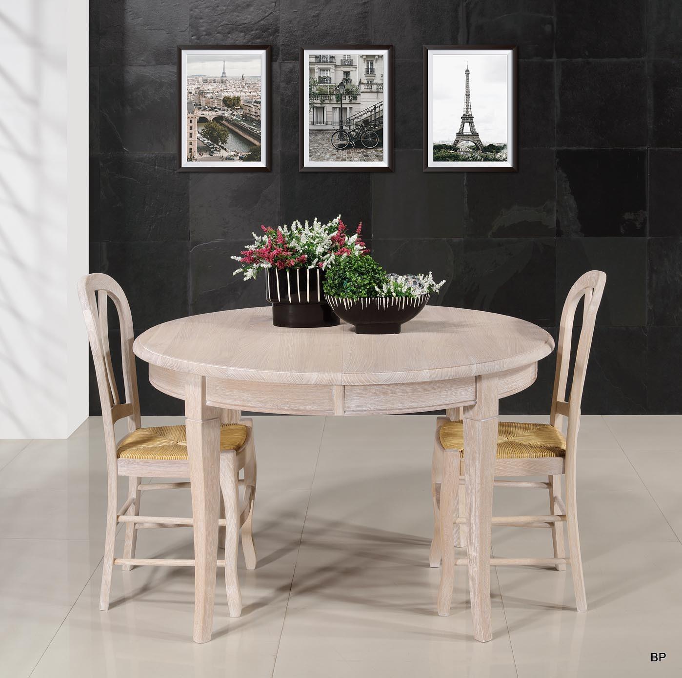 ed3592a1674fcc ... Table ronde Fabien réalisée en Chêne massif de style Louis Philippe  Diamètre 120 + 5 allonges ...