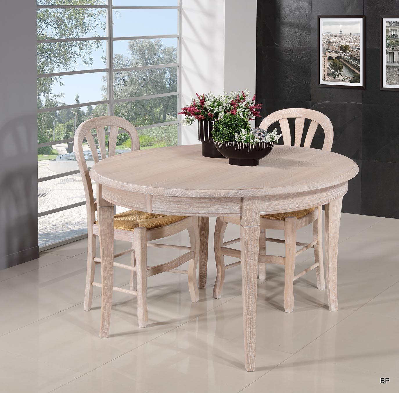 a6539604239f19 Table ronde Fabien réalisée en Chêne massif de style Louis Philippe  Diamètre 120 + 5 allonges