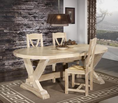table monast re olivier 220x120 r alis e en ch ne massif 2 allonges portefeuille de 45 cm. Black Bedroom Furniture Sets. Home Design Ideas