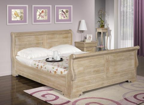 lit bateau nicolas r alis en ch ne massif 160 200 de style louis philippe finition ch ne bross. Black Bedroom Furniture Sets. Home Design Ideas